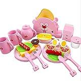 Cvbndfe Stanza dei corredi della casa delle Bambole in min Colazione Toy Tea Pot Dinner Ware Pane e Burro Tostapane Set Gioco in Legno Cibo e Accessori per la Cucina Squisito