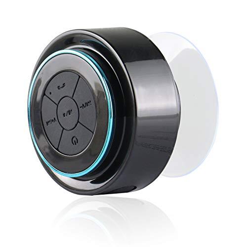 Expower® IPX7 Wasserdicht Bluetooth Stereo Lautsprecher Duschen Lautpsrecher für Smartphone, Integrierte Mikrofon,3.5mm AUX in (schwarz mit blau)