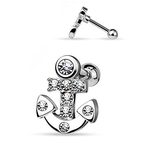 Autiga® Ohr Piercing Stecker Anker Tragus Helix Cartilage Anhänger Anchor Barbell Silber