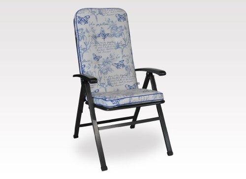 Angerer Stuhlauflage, Exklusiv Sesselpolster hoch Design Schmetterling, blau, 120x50x7 cm, 1024/217