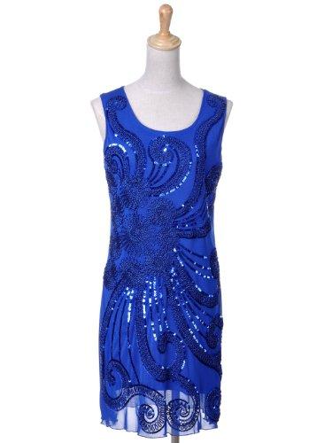 Anna-Kaci Frauen Blumen Angestrahlt Blingeling Pailletten 1920 Flapper Gatsby Cocktail Ärmellos Party Mini Kleid Blau
