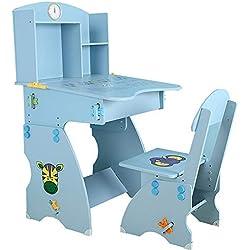 Bureau d'étude pour enfants Table et chaise pour enfants Ensemble de table et de chaise Ensembles de bureaux et de chaises pour étudiants avec étagère pour garçon et fille à la maison Bureau écrit Tab
