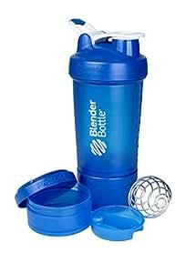 BlenderBottle Prostak Protein Shaker/Diät Shaker (650ml, skaliert bis 450ml, mit 2 Container 150ml & 100ml, 1 Pillenfach) Blau