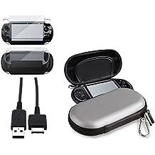 Plata EVA Dura Funda Cuerpo LCD Protector USB Cable Para Sony PS Vita PSV PSVITA