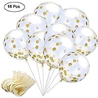 Globos de Confeti Dorado, 12 Pulgadas Globos de Fiesta de Latex Transparentes con Puntos de Confeti de Papel Dorado para Decoraciones de Cumpleaños, Bodas o Fiestas (15 Piezas)