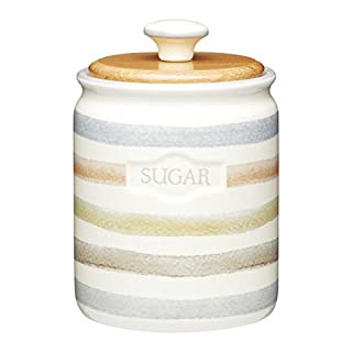 KitchenCraft Classic Collection Striped Ceramic Sugar Container, 800 ml (28 fl oz) - Cream