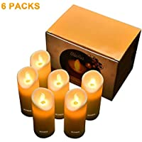 Gluckluz Candle Light LED Pillar Candles Lantern Lamp Electric Votive Tea Light Flameless Real Flickering Realistic Candle for Wedding Birthday Party (Battery Powered, 6 PACK)