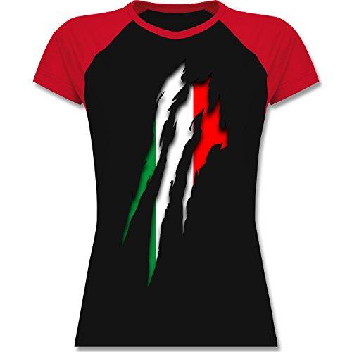 Shirtracer Länder - Italien Krallenspuren - Zweifarbiges Baseballshirt/Raglan T-Shirt für Damen Schwarz/Rot