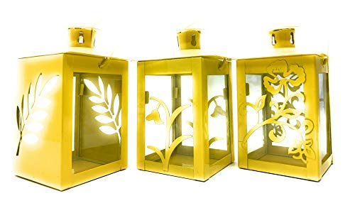 Laterne Windlicht Set Gelb Metall Flower Blumen Design 3 Stück zum stellen oder hängen
