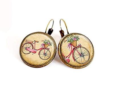 Boucles d'oreilles cabochon, Vélo, rétro, dormeuses bronze, fait mains, bijoux femme