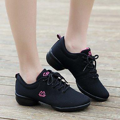 Scarpe da ballo-Non personalizzabile-Da donna-Danza moderna-Quadrato-Tessuto-Nero Rosso Bianco Black