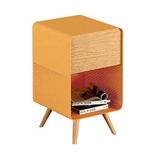 Nachttisch aus Schmiedeeisen Kleiner Nachttisch aus massivem Holz (Farbe : Gelb)
