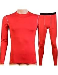 los deportes de los hombres y la ropa de entrenamiento de fitness de ajuste hermético traje de la transpiración de secado rápido Manga larga 1019 + 1020 , red , m