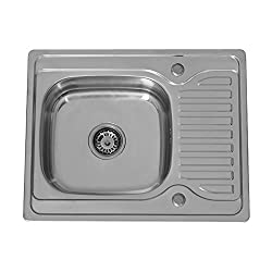 ENKI Compact Stainless Steel 1.0 Single Bowl Reversible Square Inset Topmount Kitchen Sink with Drainboard