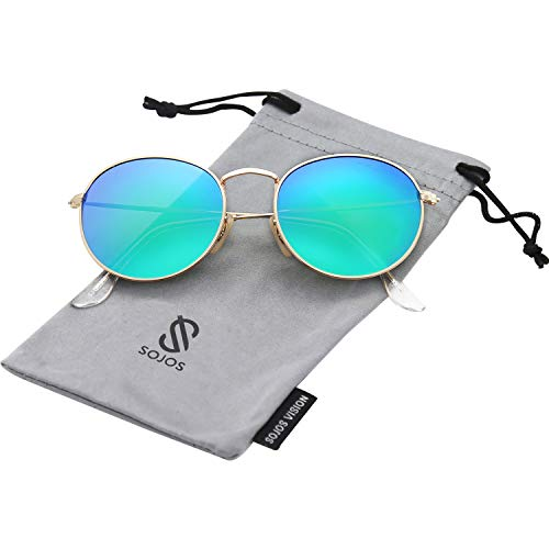 SOJOS Mode Rund Polarisiert Damen Herren Sonnenbrille Linsees Unisex Sunglasses SJ1014 mit Gold Rahmen/Grün Linse