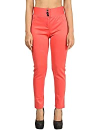 Timbre Stretchable Ankle Length Scuba Fabric Peach Jeggings/Leggings for Girls/Women