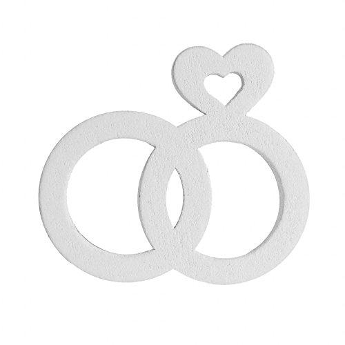 maDDma  8 Hochzeitsdeko aus Holz, Herz, Ring, Turteltaube, weiß - Vintage Deko Hänger, Variante:Variante 1