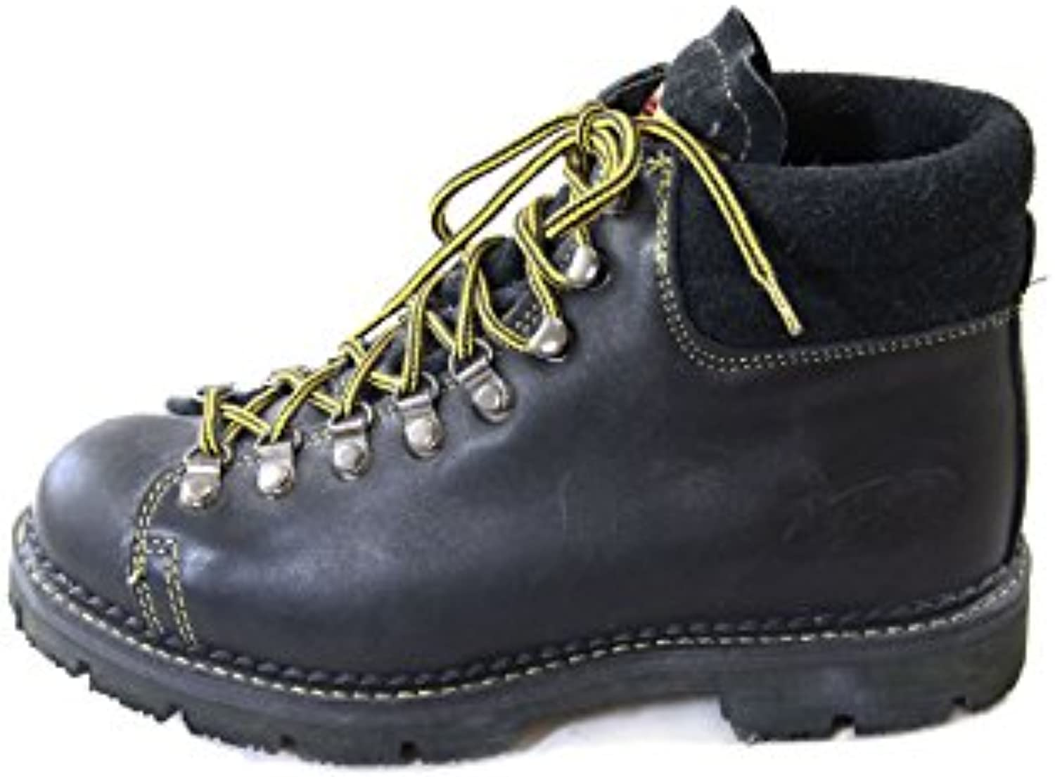 Energie Vintage Black Leather Hiker Boots with Goodyear Welt