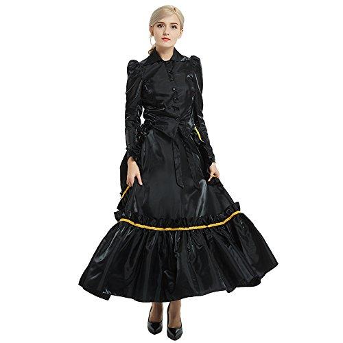 GRACEART Edwardian Kleid Jacke und Rock Anzüge mit Geschäftigkeit (Schwarz, 6) -