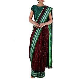 Unnati Silks Women Maroon-Green Pure Handloom Sambalpuri Cotton Saree
