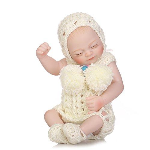 Nicery Reborn Baby Doll dur Simulation Silicone Vinyle 25,4cm 24-26cm enfant ami étanche baigner jouet Cadeau Fille Yeux fermer avec robes pour Thanksgiving Black Friday Blanc Pull de Noël Jour