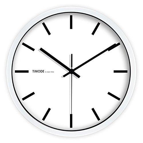 Gyuhanlt quarzo classico non ticchettio silenzioso sweeping secondi orologio da parete rotondo a pile eay da leggere per soggiorno camere da letto cucine, casa / ufficio / scuola / barbianco e nero tradizionale, bordo argento, 12 pollici