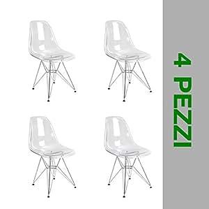 4 sedie design moderno in policarbonato trasparente e for Replica sedie design
