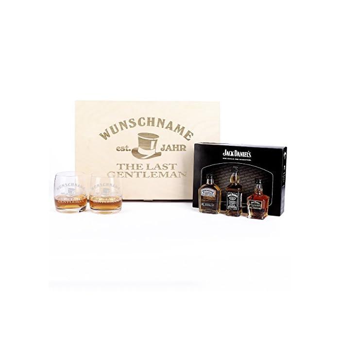 Privatglas Jack Daniel's Whisky Geschenkbox mit 2 Gläsern u. gratis Namen & Geburtsjahr 1