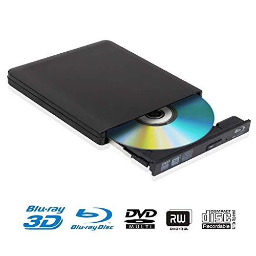 Externe 4k 3D Blu Ray DVD Laufwerk Brenner USB 3.0 Tragbare Ultra Slim BD/CD/DVD RW Player Disc für Windows 10 7/8 / Vista/XP/Mac OS Linux, PC - Linux Pc