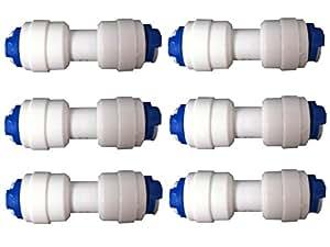 """Natures Water - Set di 6 connettori per tubo frigorifero, raccordi a innesto, da 1/4 """" a 1/4"""" (6,35 mm)"""