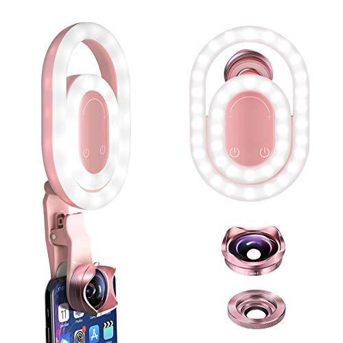 BlitzWolf Selfie Ring Licht, 3 in 1 verstellbares LED Ringlicht Kamera Make-up Licht wiederaufladbar mit 4K HD Weitwinkelobjektiv und 15X HD Makroobjektiv für Smartphones, Laptops, iPad (Rosa) -