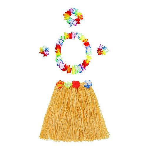 Hawaiianische Grasblume Luau Hula Röcke mit Kostüm-Set, Party, Strand, Tanz, - Luau Tanz Kostüm