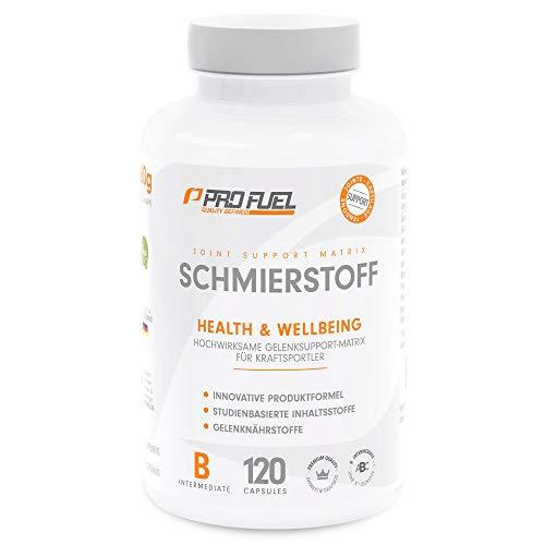 SCHMIERSTOFF | Hochwirksamer Support für Gelenke & Sehnen | U.a. mit Glucosamine, Weihrauch, Pinienrinde und Piperin | Das ORIGINAL von ProFuel | Monatspackung -