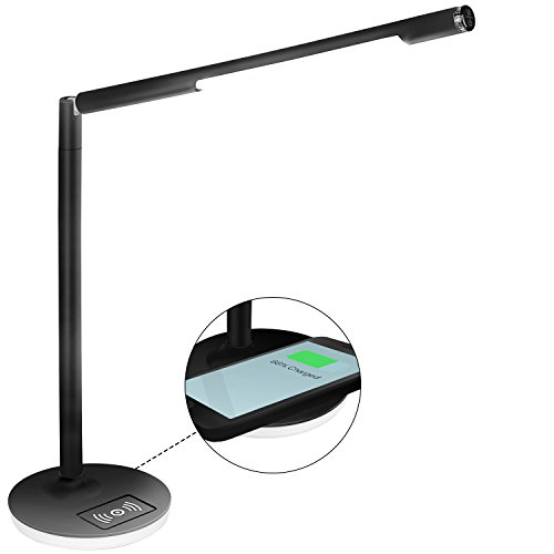 Yissvic LED Schreibtischlampe mit Qi-Ladestation 5W Tischlampe Wireless Charging Touch-Steuerung dimmbar 3 Farbtemperatur mit USB-Anschluss Schwarz