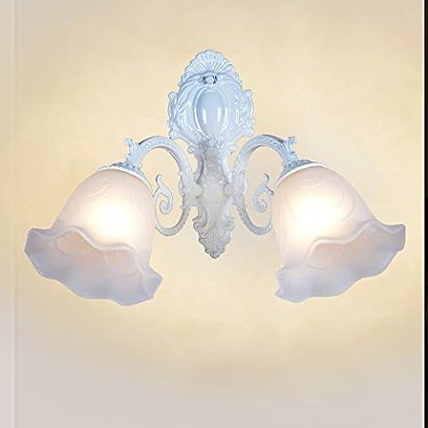 Stile europeo soggiorno parete lampada lampada da comodino caldo specchio pastorale singola e doppia parete lampada bianco lampada da parete,Monotesta