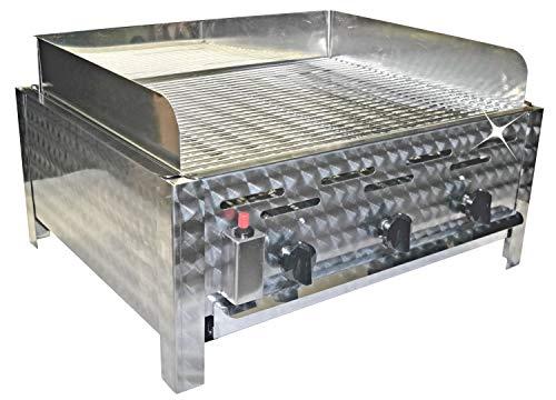 +++ Neu Gasgrill 3 flammig mit Windschutz Bräter Gas BBQ Gastro-Grill Tischgrill Gastrogrill Modul-Grill Qualitätsgrill aus Deutschland erweiterbar Gasgrill 3 Brenner Pulled Pork Geschenk