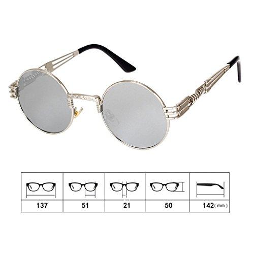 Highdas M¨¦tal Lunettes de soleil Femmes Hommes Vintage Retro Round Sunglass Steampunk Coating Glasses Argent/Blanc Mercury