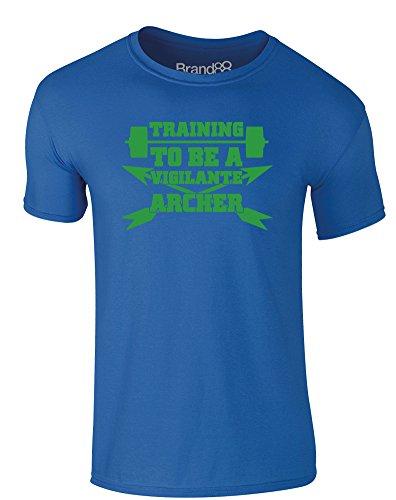 Brand88 - Training to be a Vigilante Archer, Erwachsene Gedrucktes T-Shirt Königsblau/Grün