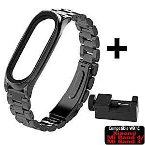 TASLAR Strap Stainless Steel Watch Band Luxury Metal Wristband Clip Adjuster Compatible with Xiaomi Mi Band 4 / Mi Band 3 (Black)