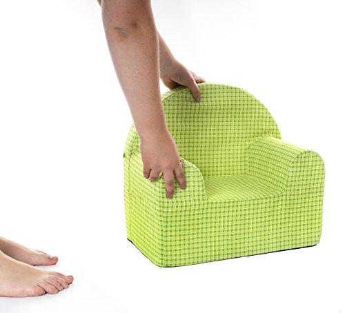Kinder-Sessel, Sessel für Kinder, Bodenhocker,Polstermöbel, Kindermöbel, Bezug 100% Baumwolle, Babyblume PIKOLO, grün
