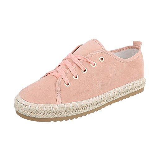 Ital-Design Low-Top Sneaker Damen-Schuhe Low-Top Sneakers Schnürsenkel Freizeitschuhe Altrosa, Gr 40, B743S-Bl- (Sneaker Design)