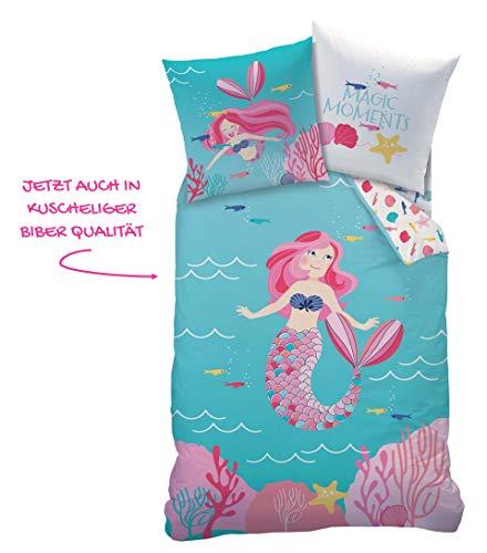 (Meerjungfrau Mädchen Biber Bettwäsche · Kinderbettwäsche · Mermaid Magic Moments · Kuschelige Winterbettwäsche mit Wende Motiv - Kissenbezug 80x80 + Bettbezug 135x200 cm - 100% Baumwolle)