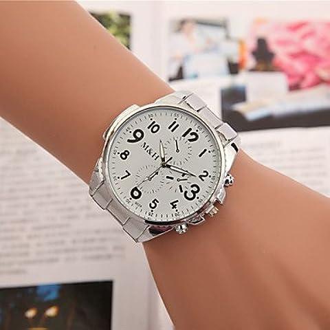 Reloj número de cuarzo correa de acero analógico diamante de la manera de las mujeres (colores surtidos) ( Color : Blanco