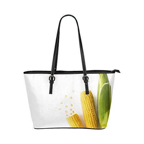 Plsdx Verzauberte gelbe Mais Große Leder Tragbare Top Hand Totes Taschen Kausal Handtaschen Reißverschluss Schulter Einkaufstasche Geldbörse Organizer Für Dame Mädchen Frauen
