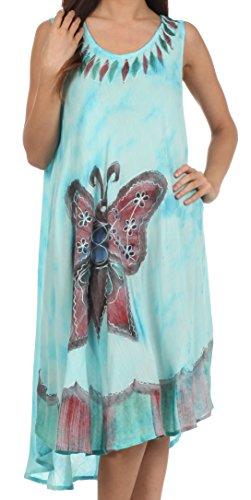 217-Sakkas Bindungsfärbung Schmetterling Panzer Mantel Kaftan Mid Länge Baumwollkleid-Turquoise-eine Größe