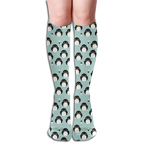Women's Fancy Design Stocking Adorable Mint Blue Baby Penguin Birds With Geometric Detailing For Kids Multi Colorful Patterned Knee High Socks 19.6Inchs