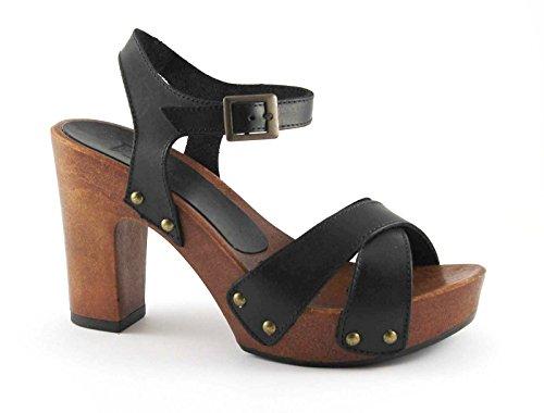 DIVINE FOLLIE 911 nero sandalo zoccolo donna tacco plateaux Nero
