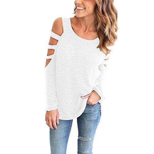 Butterme Frauen Ausschnitt Off-Schulter Langarm Besatzungs Hals Sexy Lose Bluse Shirt Weiß