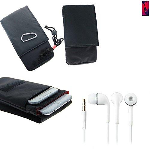 K-S-Trade Für Huawei P20 Pro Dual-SIM Gürteltasche Brusttasche Brustbeutel schwarz + in Ear Ohrstöpsel Travel Bag Travel-Case vertikal Schutz vor Diebstahl/Raub für Huawei P20 Pro Dual-SIM