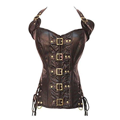 FeelinGirl Damen Vintage Corsage Top Korsett Steampunk Gothic Punk Korsage XXL Mesh Braun
